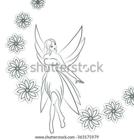 The vector illustration of a fairy. - stock vector