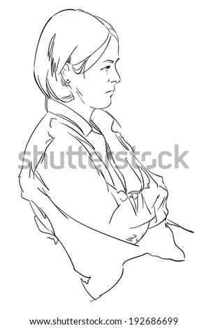 The vector illustration of a girl