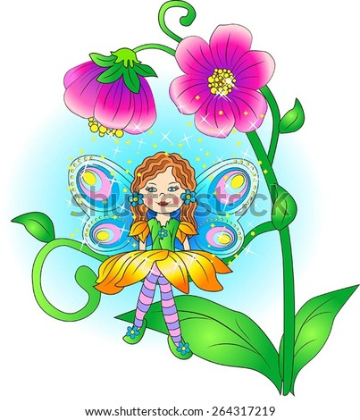 The vector illustration of fairy. She sits on the tendril of flower. Gold magic pollen drops on the fairies head and wings. It`s day. The weather is fine. Fairies wings shining.  - stock vector