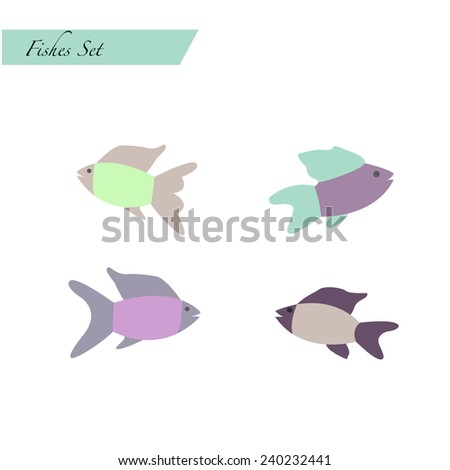 the vector illustration of fishes in a flat style - stock vector