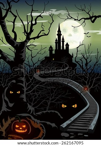 The vector illustration of Ominous Halloween castle. Night obscure landscape with old squeaky trees, luminous eyes and full moon. - stock vector
