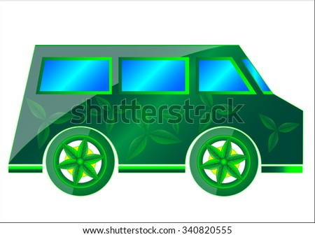 The vector illustration of the ecology isolated in white, the concept of the ecology transport. - stock vector