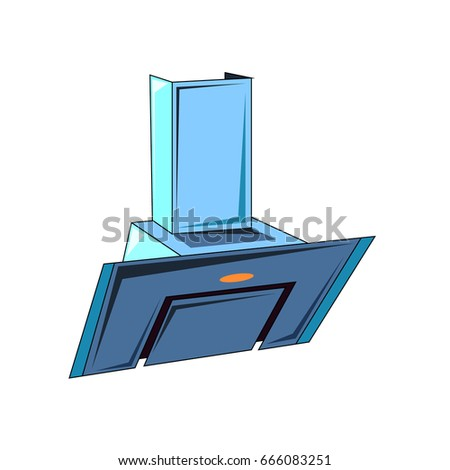 The vector illustration  of the electric oblique cooker hood to create an internet shop icon or a kitchen book about home electric appliances or a store of electrical goods