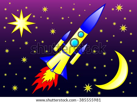 The vector illustration of the modern rocket flying in the space between  the stars.