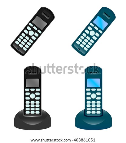 The vector illustration of the set of the modern digital phones isolated in the white background - stock vector