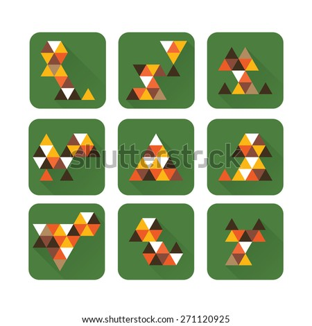 The vector illustration of triangle pets - stock vector