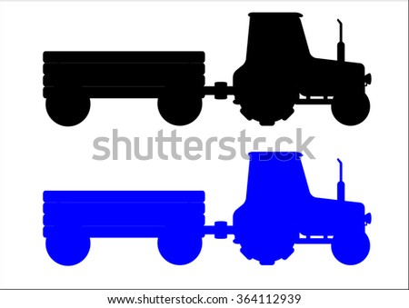 The vector illustration ot the silhouettes of the two  modern  tractors isolated in the white background - stock vector