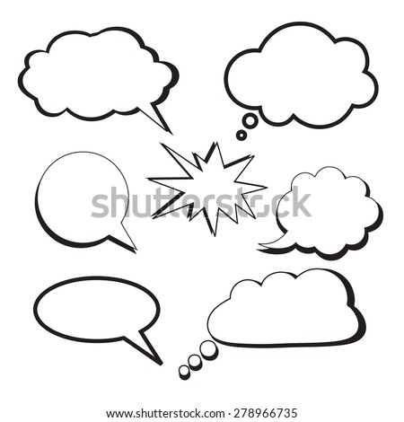 "The vector illustration ""Set of talking bubbles and clouds on white background"" for design"