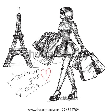 "The vector illustration ""shopping fashion girl in Paris"" for design - stock vector"