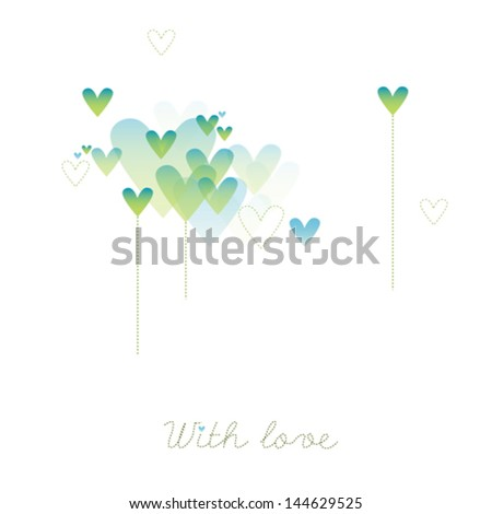The vector illustration with hearts - stock vector