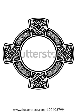 The vector image Celtic cross with framework - stock vector