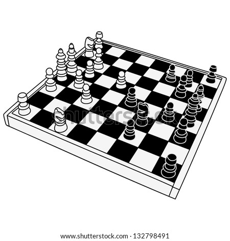 The vector image of a chessboard with figures - stock vector