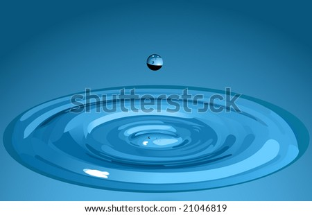 The vector image of a falling water drop