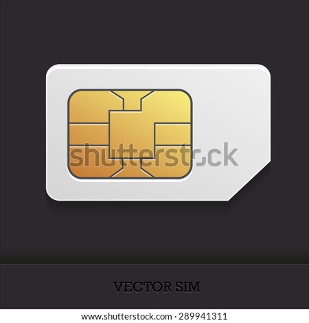 the vector image of a realistic sim card with the chip for cellular mobile communication - stock vector
