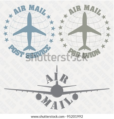 The vector image of a Set of stamps air mail - stock vector