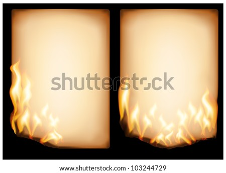 The vector image of  burning old paper