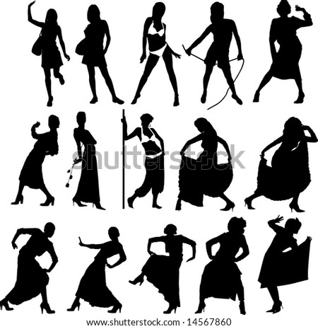 The vector image of girls in bathing suits and in dresses isolated on a background