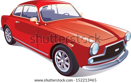 The vector image of the great rare retro vehicle painted in a red color on a white background. Editable vector EPS v.10. - stock vector