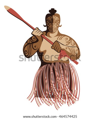 The vector image of the historical warrior Maori tribe. New Zealand