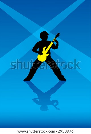 The vector image of the person playing on a guitar - stock vector