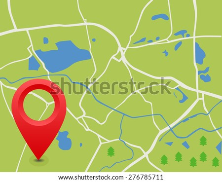 The vector map. The pointer on the road. The lake, the path, the forest on the map