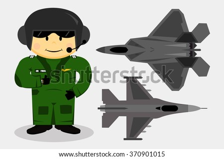 The vector of fighter pilot - stock vector