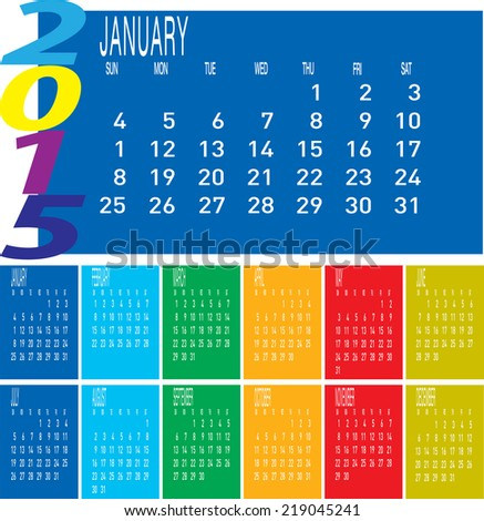 The vector of Year 2015 Colorful Calendar - January.