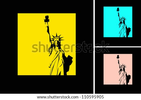 the vector retro Statue of Liberty background eps10 - stock vector