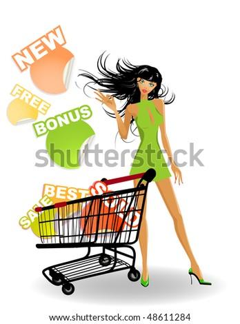the vector shopping girl - stock vector