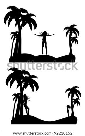 the vector silhouette girl on tropical  beach - stock vector