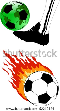 the vector soccer ball with fire - stock vector
