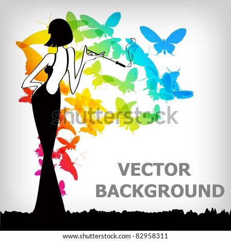 the Vector vintage retro woman background - stock vector