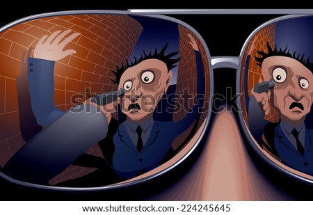 The victim and the hand with a gun in mirrored sunglasses thief. Eps8 CMYK Organized by layers Gradients used - stock vector