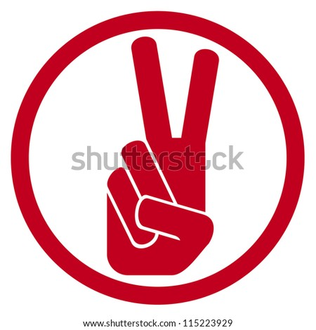 the victory symbol (victory hand gesture, victory symbol, gesticulate hand victory sign) - stock vector