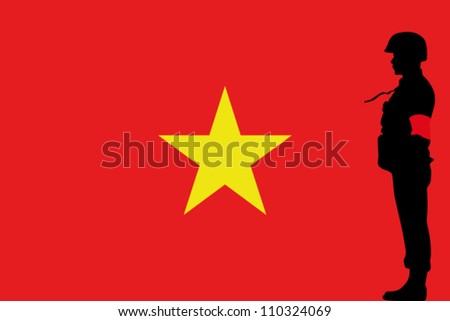 The Vietnam flag and the silhouette of a soldier with Red Arm Band - stock vector