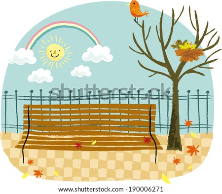 The view of bench in the park  - stock vector