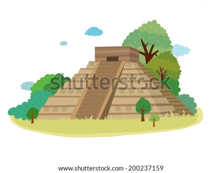 The view of Chichen Itza in Mexico  - stock vector