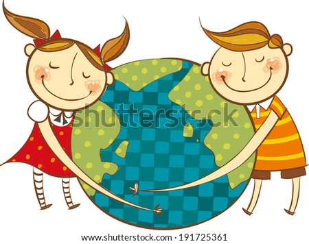 The view of children are hugging an earth  - stock vector