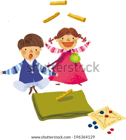 The view of children are playing game  - stock vector