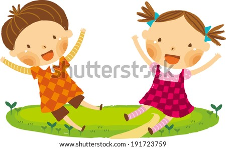 The view of children are sitting  - stock vector