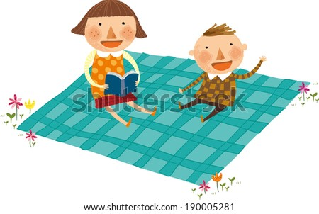 The view of children are sitting on the mat  - stock vector