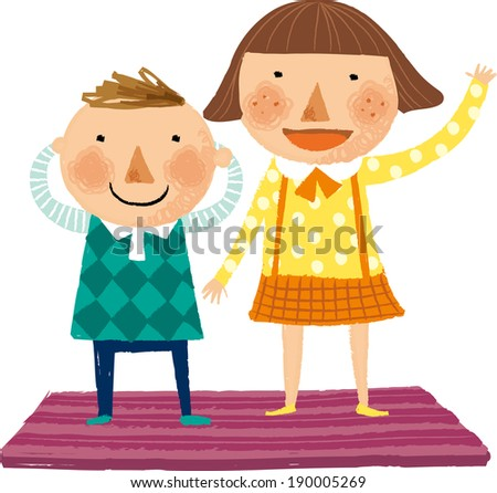 The view of children are standing together on the lug  - stock vector
