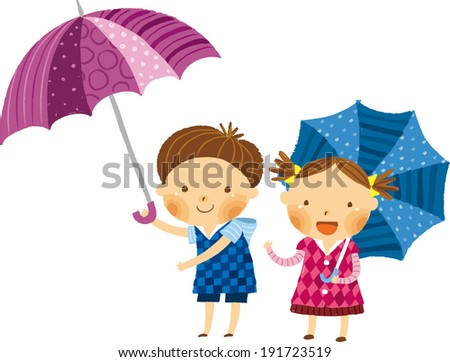 The view of children with umbrella  - stock vector
