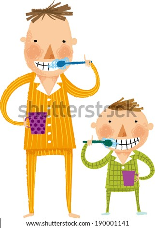 The view of father and son are gargling  - stock vector