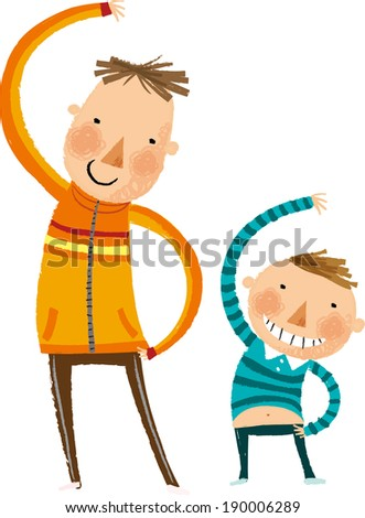 The view of father and son are stretching  - stock vector