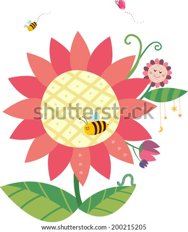 The view of flower  - stock vector