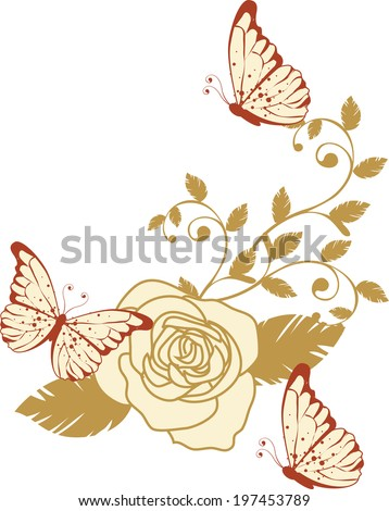 The view of flower with butterfly