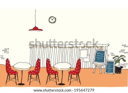 The view of indoor cafe  - stock vector