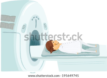 The view of man through a CT scanning machine  - stock vector