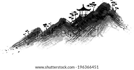 The view of mountain with pavilion  - stock vector